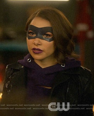 Nora's purple cutout hoodie and leather jacket on The Flash
