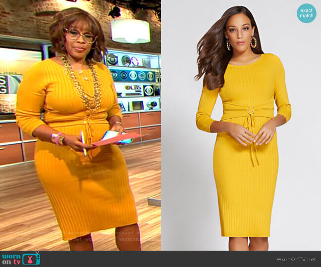 Corset Sweater Dress - Gabrielle Union Collection by New York & Company worn by Gayle King  on CBS This Morning