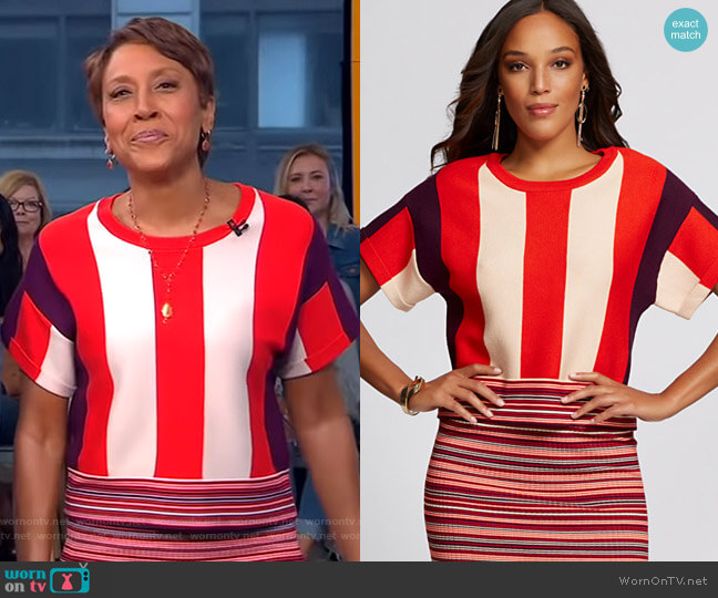 Colorblock Sweater - Gabrielle Union Collection by New York & Company worn by Robin Roberts  on Good Morning America