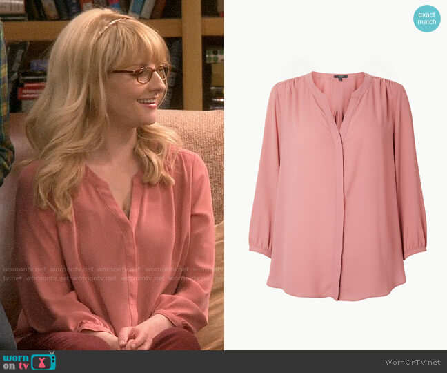 NYDJ Pintuck Back Blouse worn by Bernadette Rostenkowski (Melissa Rauch) on The Big Bang Theory