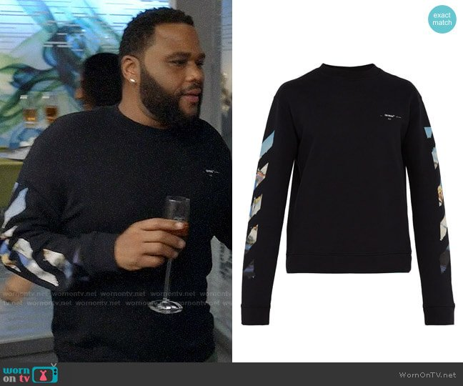 Off-White Arrow Graphic Sweatshirt worn by Andre Johnson (Anthony Anderson) on Blackish