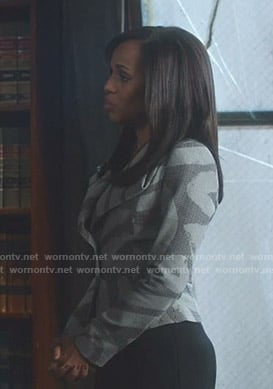 Olivia's grey patterned blazer on Scandal