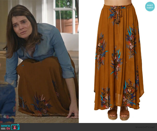 Karla Floral Print Maxi Skirt by O'Neill worn by Heather Hughes (Betsy Brandt) on Life in Pieces
