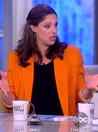 Abby's orange ribbon embellished blazer on The View