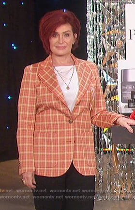 Sharon's orange check blazer on The Talk