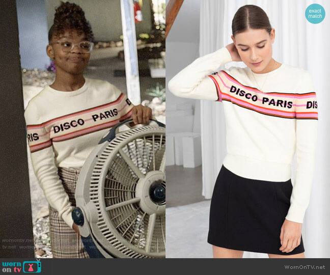 & Other Stories Disco Paris Cotton Pullover worn by Diane Johnson (Marsai Martin) on Blackish