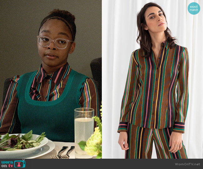 & Other Stories Striped Satin Button Up Shirt worn by Diane Johnson (Marsai Martin) on Blackish