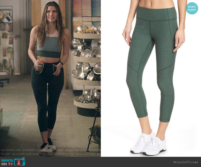 Outdoor Voices Warm-Up Crop Leggings worn by Rio (Lake Bell) on Bless This Mess