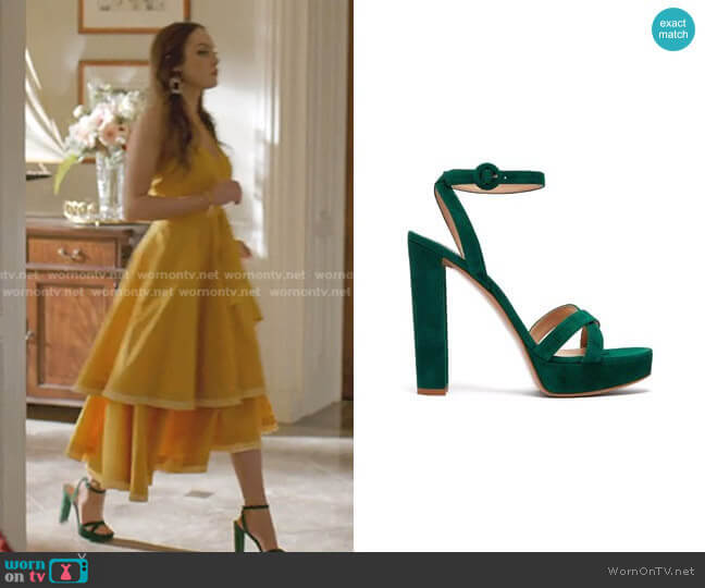 Poppy Suede Platform Sandals by Gianvito Rossi worn by Fallon Carrington (Elizabeth Gillies) on Dynasty