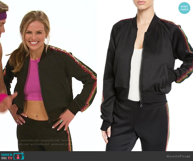 Cropped Track Jacket with Rhinestone Side Stripes by Pam & Gela worn by Hannah Brown  on The Bachelorette