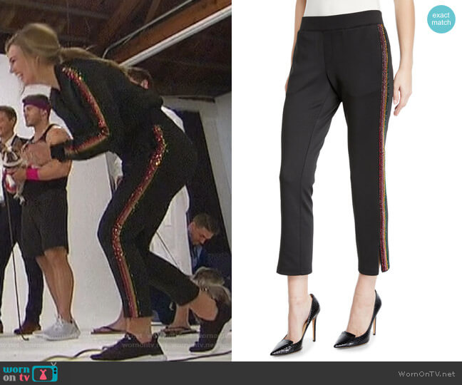 Cropped Track Pants with Rhinestone Side Stripes by Pam & Gela worn by Hannah Brown  on The Bachelorette