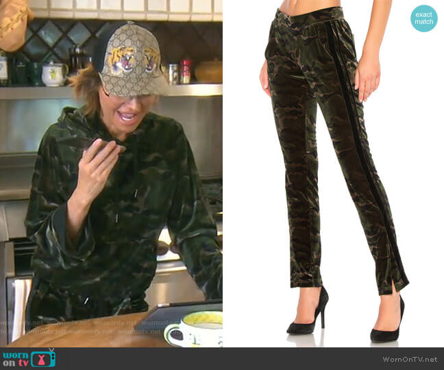Side Slit Velvet Track Pant by Pam & Gela worn by Lisa Rinna  on The Real Housewives of Beverly Hills