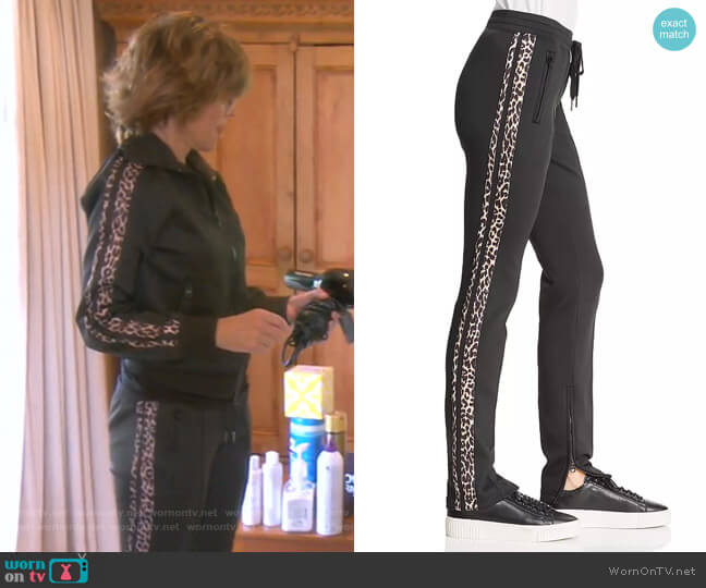 Leopard Stripe Cigarette Pants by Pam & Gela worn by Lisa Rinna  on The Real Housewives of Beverly Hills