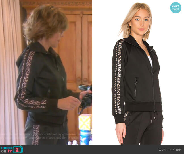 Leopard Stripe Track Jacket by Pam & Gela worn by Lisa Rinna  on The Real Housewives of Beverly Hills