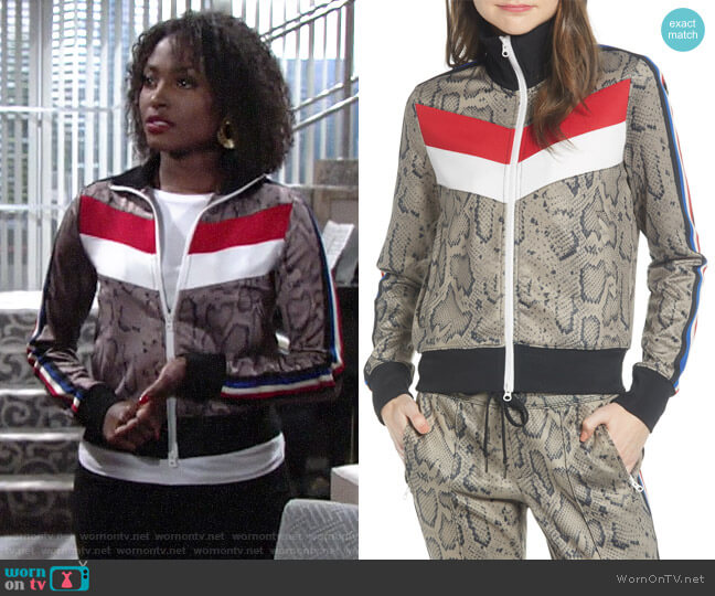 Pam & Gela Colorblock Track Jacket worn by Ana Hamilton (Loren Lott) on The Young & the Restless