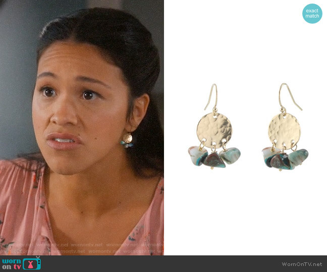 Peggy Li Opalite Disc Earrings worn by Jane Villanueva (Gina Rodriguez) on Jane the Virgin