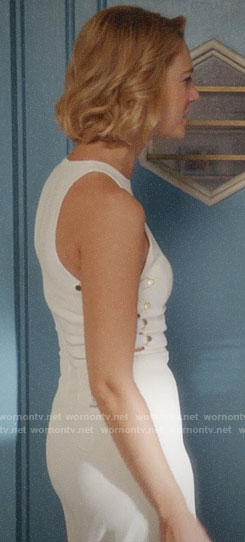 Petra's white jumpsuit with lace-up sides on Jane the Virgin