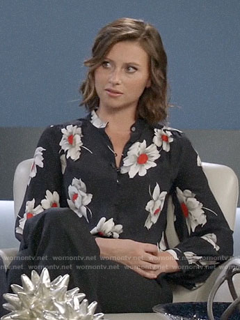 Peyton's black flower print blouse on iZombie