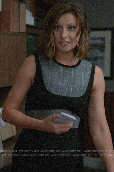 Peyton's black dress with grey plaid panels on iZombie
