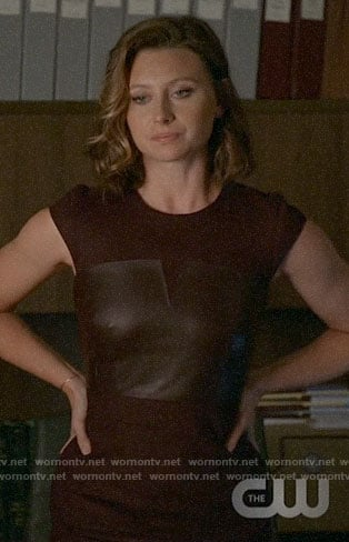 Peyton's burgundy leather panel dress on iZombie
