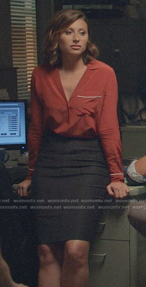 Peyton's red button down with piping on iZombie