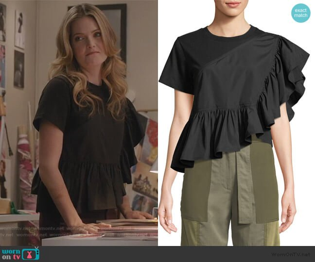 Flamenco Flounce-Hem Tee by 3.1 Phillip Lim worn by Sutton (Meghann Fahy) on The Bold Type