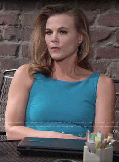 Phyllis's turquoise dress with lacing on The Young and the Restless