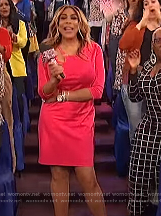 Wendy's pink cutout shoulder dress on The Wendy Williams Show