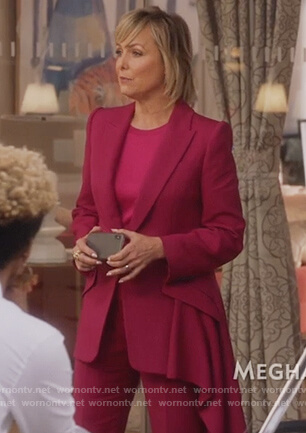 Jacqueline's pink drape blazer on The Bold Type