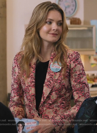 Sutton's pink floral jacquard blazer on The Bold Type