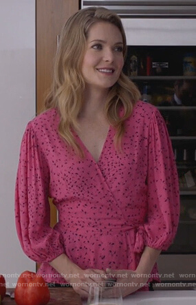 Sutton's pink floral wrap top on The Bold Type