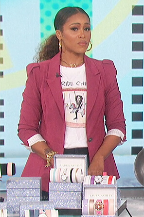 Eve's white Ride Cher tee and blazer on The Talk