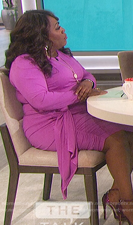 Sheryl's purple ruched side dress on The Talk