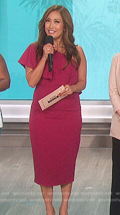 Carrie's pink off shoulder ruffle dress on The Talk