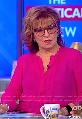 Joy's pink scalloped neck blouse on The View