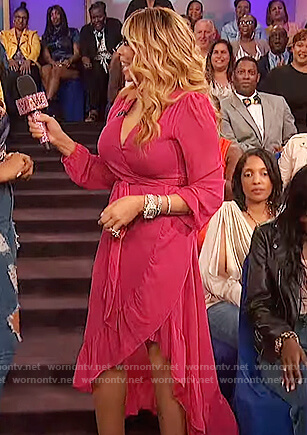 Wendy's pink ruffle wrap dress on The Wendy Williams Show