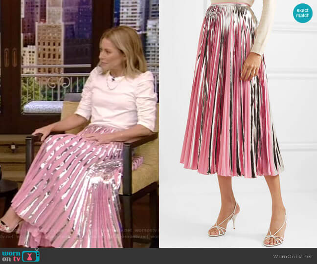 Pleated Metallic Midi Skirt by Marni worn by Kelly Ripa  on Live with Kelly & Ryan