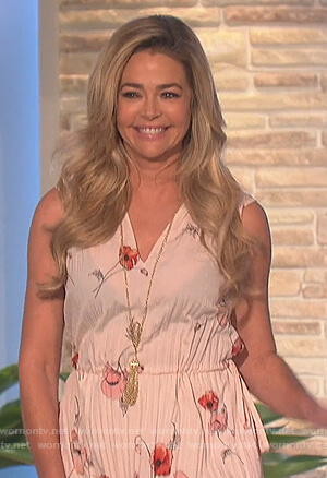 Denise Richard's floral sleeveless dress on The Talk