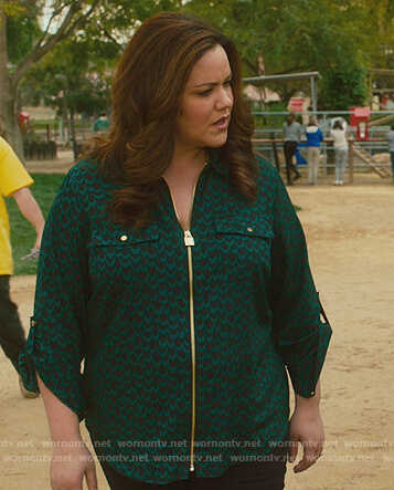 Katie's print zip blouse on American Housewife