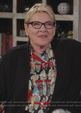Joan's print pajamas on Life in Pieces