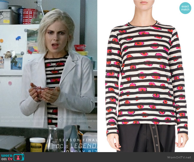 Proenza Schouler Long-Sleeve Floral Striped Tee worn by Liv Moore (Rose McIver) on iZombie