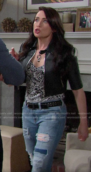 Quinn's white leopard print top and cropped leather jacket on The Bold and the Beautiful