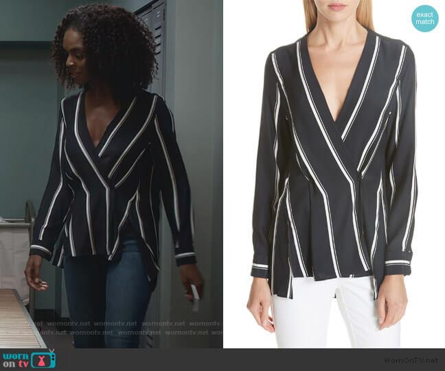 Debbie Stripe Silk Blouse by Rag & Bone worn by Angela Archer (Samantha Marie Ware) on What/If