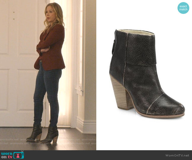 Newbury Distressed Leather Ankle Boots by Rag & Bone worn by Jen Harding (Christina Applegate) on Dead to Me