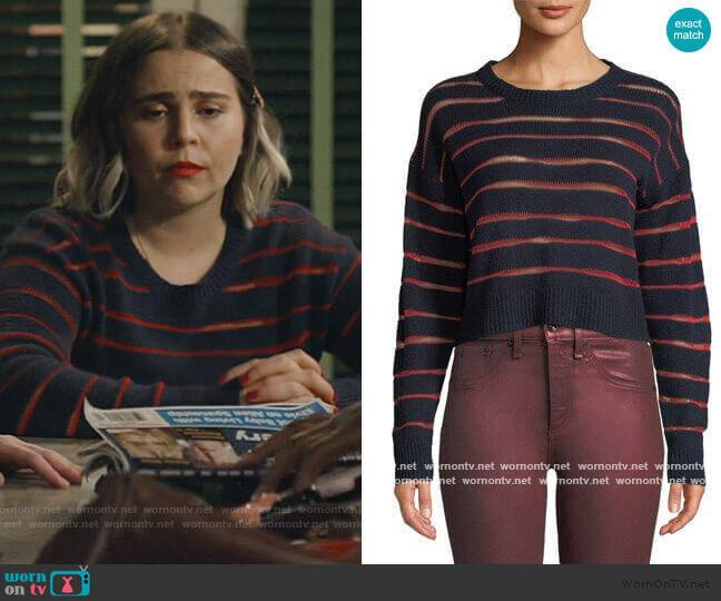 Penn Cropped Sweater with Sheer Stripe Detail by Rag & Bone worn by Annie Marks (Mae Whitman) on Good Girls