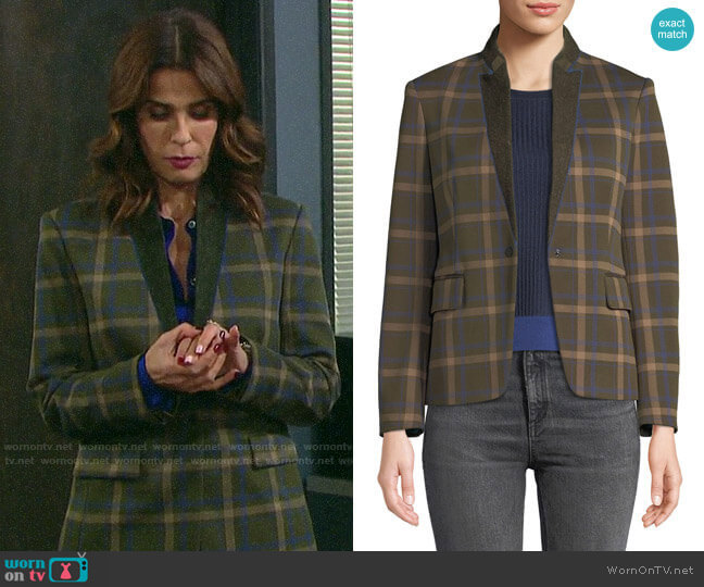 Rag & Bone Naomi Check Blazer worn by Hope Williams (Kristian Alfonso) on Days of our Lives