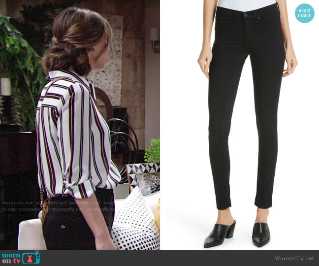 Rag & Bone High Waist Ankle Skinny Jeans worn by Elena Dawson (Brytni Sarpy) on The Young & the Restless