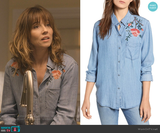 Ingrid Embroidered Shirt by Rails worn by Judy Hale (Linda Cardellini) on Dead to Me