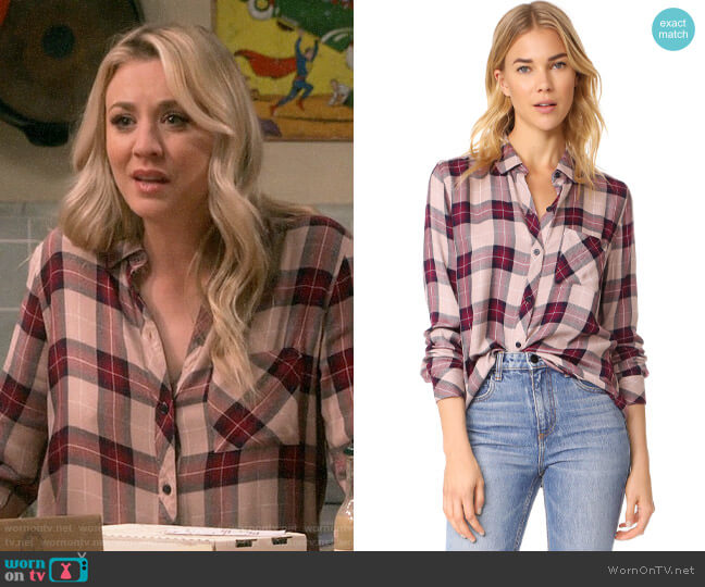 Rails Hunter Shirt in Sand Navy Port worn by Penny Hofstadter (Kaley Cuoco) on The Big Bang Theory
