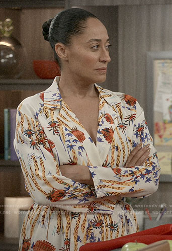 Bow's floral shirtdress on Black-ish